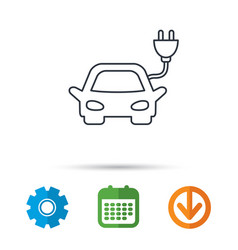 electric car icon hybrid auto transport sign vector image