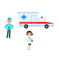 flat doctor surgeon ambulance car set vector image