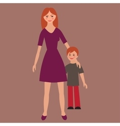 Flat portrait of happy family with mother and vector image