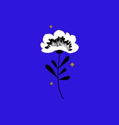Flower and stars elegant design elements on blue vector