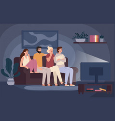Friends watching horror movie together scared vector