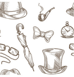 gentleman accessories pattern background vector image