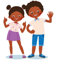 Girl and boy african americans welcome and show vector