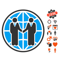 Global partnership icon with dating bonus vector