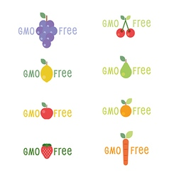 GMO Free tag logo label emblem for plant fruits an vector image