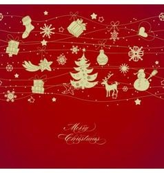 Golden Christmas decorations over red background vector image