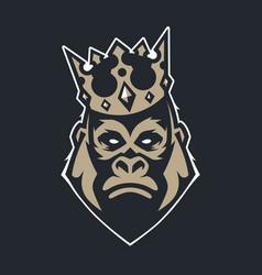 gorilla in crown mascot icon vector image