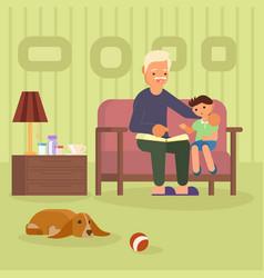 granddad and grandson on sofa vector image