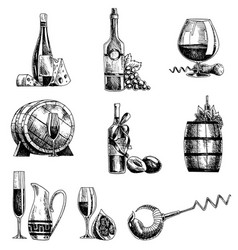 hand drawn sketch wine set wine objects vector image