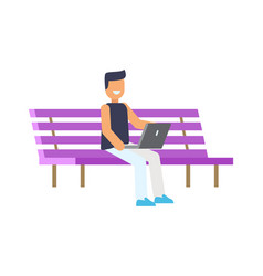 Happy man sitting on lilac bench colorful poster vector