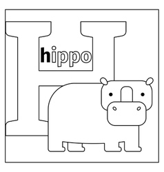 Hippo letter h coloring page vector