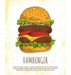 huge hamburger isolated on white background vector image