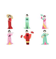 japanese girls in traditional clothes set asian vector image