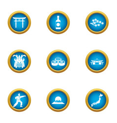 Journey japan icons set flat style vector