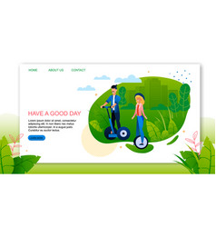 Landing page advertising happy healthy vacation vector