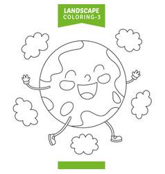 landscape coloring page vector image