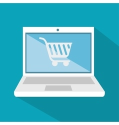 Laptop technology digital shop cart icon vector
