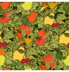 Leaves vegetables and fruits seamless pattern vector