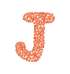 letter j made of valentines vector image