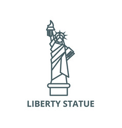 liberty statue new york line icon linear vector image