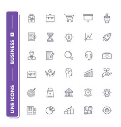line icons set business vector image