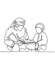 Man and boy reading koran vector