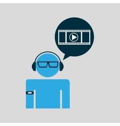 Man video player technology wearable vector