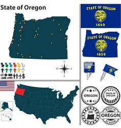 Map of Oregon vector