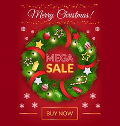 mega sale postcard with christmas wreath vector image