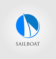 minimalist sailboat logo in negative space vector image