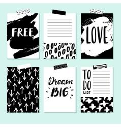 Modern card set for planner journaling vector