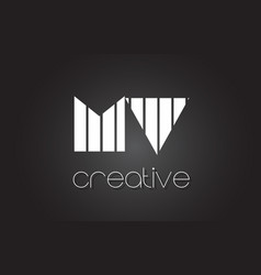 Mv m v letter logo design with white and black vector