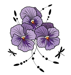 pansies and dragonflies vector image