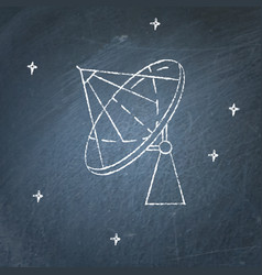 parabolic antenna icon on chalkboard vector image