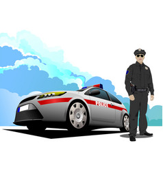 police car and policeman vector image