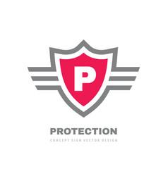protection shield concept logo design letter p vector image
