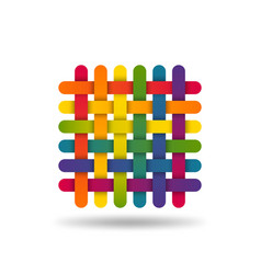 rainbow coloured interwoven threads textile vector image