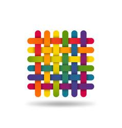 Rainbow coloured interwoven threads textile vector