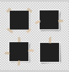 realistic photo frames with shadows with adhesive vector image