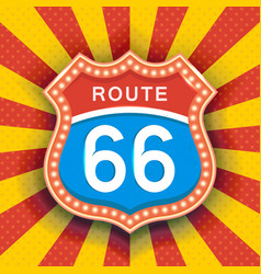 retro signboard with light text of route sixty six vector image