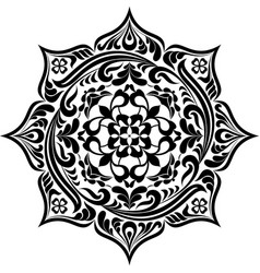 round floral tattoo mandala in black and white 1 vector image