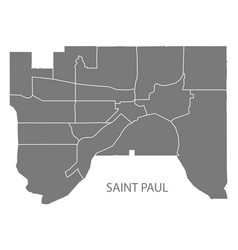 Saint paul minnesota city map with neighborhoods vector