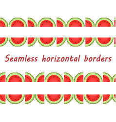 seamless border of the halves of watermelons vector image