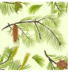 seamless texture pine branch with pinecones vector image