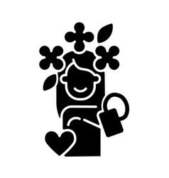 Self acceptance black glyph icon vector
