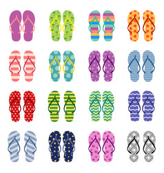 Set bright colored flip flops vector