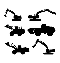 Set excavators vector