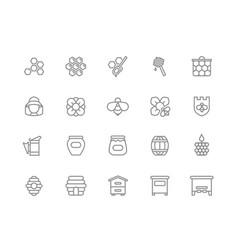 set honey line icons bee honeycomb vector image