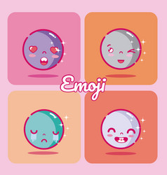 Set of cute emojis vector