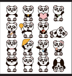 Set of cute pandas happy vector